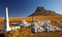 Memorials and graves of the British soldiers who fell at the Battle of Isandlwana during the Anglo Zulu War of 1879. Near Nqutu. KwaZulu-Natal. South Africa.