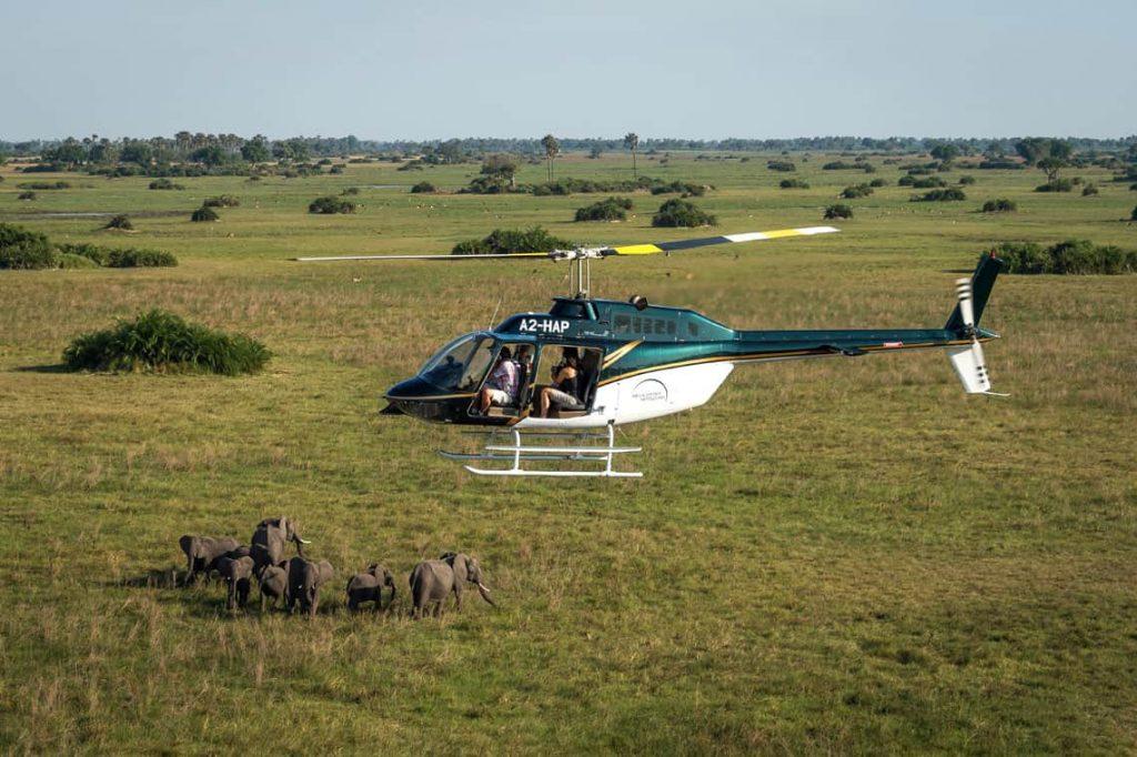 helicopter flight over okavango